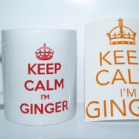 Keep Calm I'm Ginger' Novelty/Joke Printed Tea/Coffee Mug - Ideal Gift/Present * Now Includes Free Sticker *