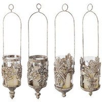 Esschert Design USA AM07S Aged Metal Hanging Lanterns in Assorted Styles, Set of 4