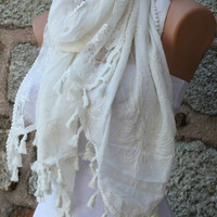Creamy White Scarf -  Cowl - Cotton Lace Scarf - fatwoman - Bridesmaids Gifts