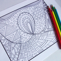 Coloring Page Zentangle Inspired Printable Zendoodle by JoArtyJo