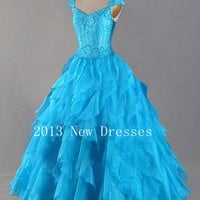 Cheap 2013 Blue A-Line V-Neck Beading Ruffled Cap Sleeve Floor-Length Organza Prom Dresses