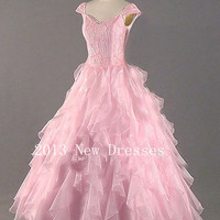 Cheap 2013 Pink A-Line Beading Ruffled Cap Sleeve Floor-Length Organza Prom Dresses