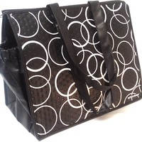 Fashion Insulated Large Shopping Beach Tote Bag -Black with White Circles