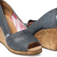 Indigo Metallic Linen Women's Wedges