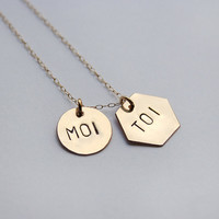 Me & You necklace in French  Personalized gold pendant por shopLUCA