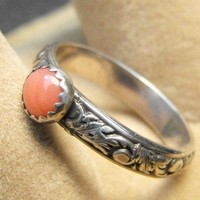 Salmon Coral Pattern Band Ring size 6 | WestWindCreations - Jewelry on ArtFire