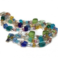 Colorful Bracelet with Butterflies 3 Strands Blue Green Yellow | kathisewnsew - Jewelry on ArtFire