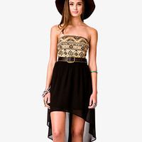 Strapless Tribal Print Dress w/ Skinny Belt | FOREVER 21 - 2039216464