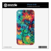 Bold Colorful Tree Painting Art iPhone 4 Skin from Zazzle.com