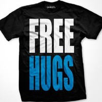 FREE HUGS Mens T-shirt, Big and Bold Funny Statements Tee Shirt