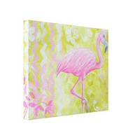 Beautiful Pink & Citron Flamingo Painting Art from Zazzle.com