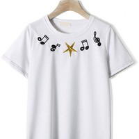 Music Notes Embroidery T-shirt in White