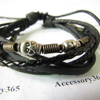 Black Soft Leather Bracelet with skull heads Women by braceletcool