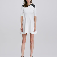 Ponte Dress with Leather Trim