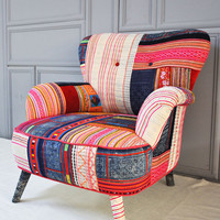 Thai Hmong patchwork armchair by namedesignstudio on Etsy