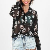 Black Long Sleeve Button Up Shirt with All Over Skull Print