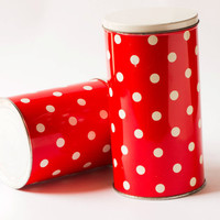 Polka dot tin canisters set 2 red white tin box Soviet kitchen box