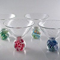 Marbletini by Michael Egan: Art Glass Goblet - Artful Home