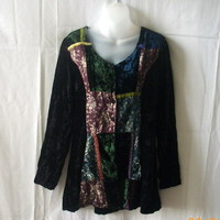 Le Chateau long-sleeved black velvet top with green, blue & purple panels