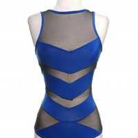 Royal Blue Mesh Insert Bodysuit  | Tanny's Couture LLC