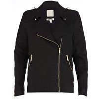 Black linen biker jacket  - biker jackets - coats / jackets - women