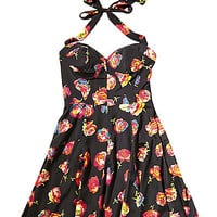 BetseyJohnson.com - SWEETHEART CABBAGE ROSE DRESS BLACK MULTI