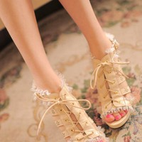 Lace Trimmed Sandals - OASAP.com