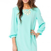 Hani Shift Dress in Mint - ShopSosie.com