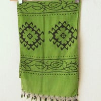 Traditional Turkish Wooden Hand printing Oya Scarf..authentic, romantic, elegant, fashion,green,cucumber,asparagus,weddings,bridal,