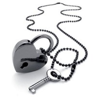 Atlas Jewels Black Stainless Steel Heart Lock and Key Love Pendant Necklace:Amazon:Jewelry