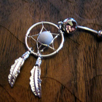Dream Catcher Belly Button Ring -- Light Amethyst