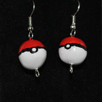 Handmade Pokeball Polymer Clay Earrings by NightStarStudios