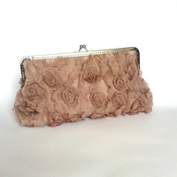 Lace ,  clutch, retro design  , light brown, satin, purse, wedding, brode, flower, bridal, bag