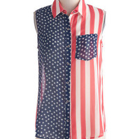 Flag Swagger Top | Mod Retro Vintage Short Sleeve Shirts | ModCloth.com