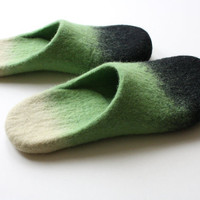 "Dirt on the green ""  Wool felted slippers HANDMADE TO ORDER"