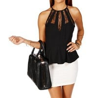 Black Lace Insert Peplum Top