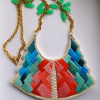 Tribal art deco necklace embroidered in beautiful pinks mint green and blues modern jewelry