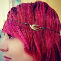 bird chain headband, chain head piece