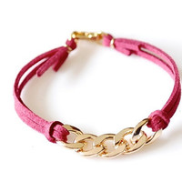 Gold Chain Suede Leather Bracelet - Fuchsia