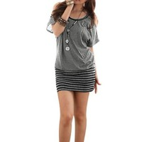 Allegra K Woman Cutout Shoulder Batwing Sleeve Stripe Hem Dress Gray M:Amazon:Clothing