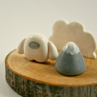 Tree Slice Business Card Holder - Little Yeti And Mountain - Miniature Polymer Clay Animal