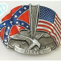 Amazon.com: Brand:e&b Dixie Us Flag Rebel Flag Southern Pride Double Eagle Belt Buckle Wt-080: Arts, Crafts & Sewing