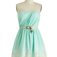 ModCloth Pastel Strapless A-line Beach Boutique Dress