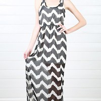 Black Ivory Sleeveless Mesh Chevron Maxi Dress and Shop Dresses at MakeMeChic.com