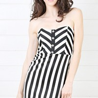 Black and White Strapless Stripe Bodycon Dress and Shop Dresses at MakeMeChic.com
