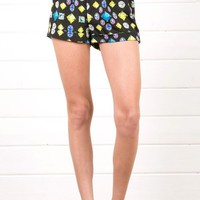 Navy Multi Gemstone Elastic Shorts With Belt and Shop Shorts at MakeMeChic.com