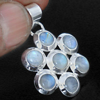 6.25cts RAINBOW MOONSTONE ROUND 925 STERLING SILVER PENDANT JEWELRY A2061