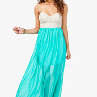A&#x27;GACI Lace Bustier Chiffon Maxi Dress
