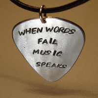 Guitar pick pendant when words fail music speaks on Handmade Artists' Shop