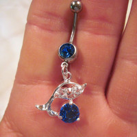 Belly Button Ring Blue Crystal Barbell Silver Tone Dolphin